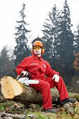 stock photo of chainsaw  - Lumberjack Worker in protective safety work wear With Chainsaw at Forest - JPG