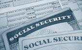 stock photo of payroll  - W2 tax form and Social Security cards - JPG