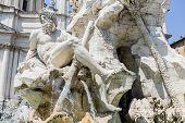 Fontana Dei Quattro Fiumi At Piazza Navona In Rome, Italy