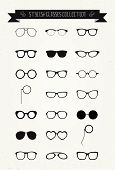 stock photo of spectacles  - Hipster Retro Vintage Glasses Icon Set - JPG
