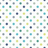 Seamless vector pattern with cool mint, blue and yellow green polka dots on white background