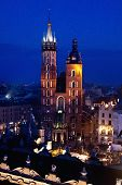 St. Mary's Church In Krakow At Night