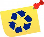 Thumb Tacked Note With  Recycle Symbol.