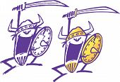 pic of plunder  - Two abstract cartoon Vikings swinging a sword - JPG