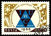 Vintage Postage Stamp.vii Globe  Congress On  Crystalographic.