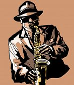 stock photo of saxophone player  - Vector illustration  - JPG