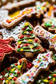 foto of ginger bread  - Traditional Christmas colorful home made ginger bread - JPG