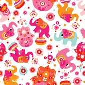 Seamless oriental elephant and hamsa hand of fatima pattern wallpaper background in vector