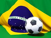 Flag Of Brazil With Football In Front Of It