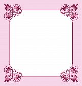 pic of scrollwork  - Feminine pink and red scrollwork border or picture frame perfect for a wedding party invitation announcement - JPG