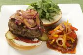 Plate With Hamburger And Salsa Pepper Salad