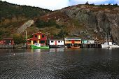 Fishing: Docks, Cabins, Boats On Quidi Vidi Lake Harbor, Newfoundland.