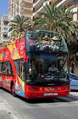 City centre tour bus, Malaga, Spain.