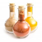 stock photo of biryani  - Bottles With Indian Spices Turmeric - JPG