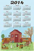 Calendar 2014 with a nice garden