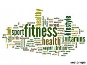 Vector eps concept or conceptual abstract fitness word cloud or wordcloud on white background