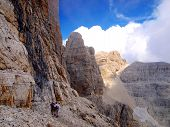 Path Alfredo Benini In The Brenta Dolomites Mountains In Italy