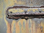Metal Hinge Part With Grunge Rust and Grime