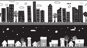 Whimsical Seamless Borders/Headers - Two monochrome seamless borders, urban and rural, city and country, day and night, with high rises and cottages; hand drawn, doodle style illustration