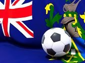 Flag Of Pitcairn Islands With Football In Front Of It