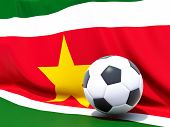 Flag Of Suriname With Football In Front Of It