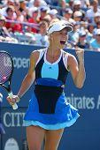 Professional tennis player Caroline Wozniacki during first round match at US Open 2013