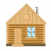 image of wooden shack  - Illustration of the wooden lodge on white background - JPG