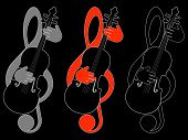 Treble clef and violin
