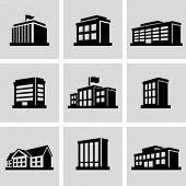 stock photo of municipal  - Buildings icons - JPG