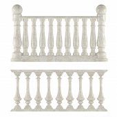 foto of balustrade  - Classic balustrade isolated at the white background - JPG
