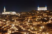 Toledo cityscape at night. Toledo Spain.