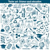 Science And Education Doodles Icons Vector Set