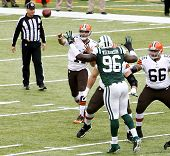 NEW YORK-DEC 22: Cleveland Browns quarterback Jason Campbell (17) throws the ball against the New York Jets during the first half at MetLife Stadium.