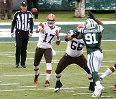 NEW YORK-DEC 22: Cleveland Browns quarterback Jason Campbell (17) throws the ball against the New Yo