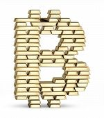 Bitcoin symbol from gold bars