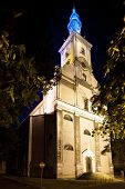 Night view of the Evangelical Church in Cieszyn