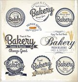 Retro Bakery Badges And Labels, vector illustration