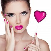 stock photo of pink eyes  - Bright makeup - JPG