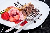 Mixed Strawberry And Chocolate Ice Cream