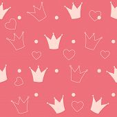 picture of princess crown  - Princess Crown Seamless Pattern Background Vector Illustration - JPG