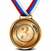 illustration of a ribboned bronze medal with laurel wreath and number, eps10