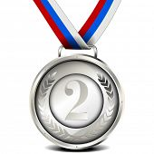 illustration of a ribboned silver medal with laurel wreath and number, eps10