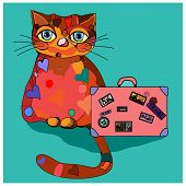 Concept cat in cartoon style. Vector illustration. Travel concept: the cat and a suitcase to travel.