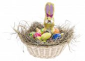 Easter Nest With Candy On White