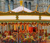 picture of merry-go-round  - Vintage colorful carousel carnival merry go round - JPG