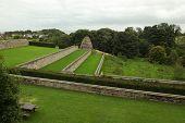 The Dovecote and garden terraces at Aberdour Castle, Fife, Scotland