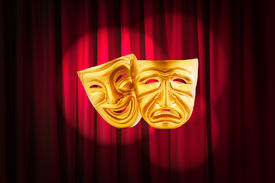foto of pantomime  - Theatre performance concept with masks - JPG