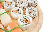 Japanese traditional Cuisine - Maki Roll with Cucumber , Cream Cheese and Raw Salmon inside served w