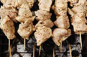 raw chicken breast shish kebab meat coated with sauce of dijon mustard prepared on grill over charco