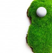 picture of grass area  - Golf ball on green grass field - JPG